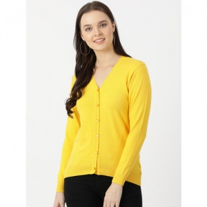 Monte Carlo Women Yellow Solid Cardigan