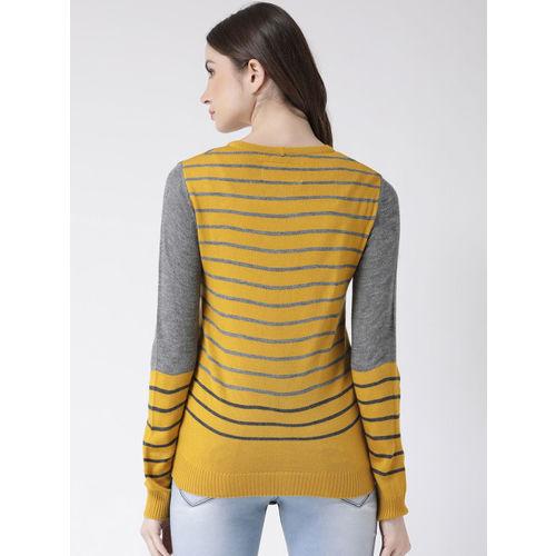 Club York Women Yellow & Grey Striped Sweater