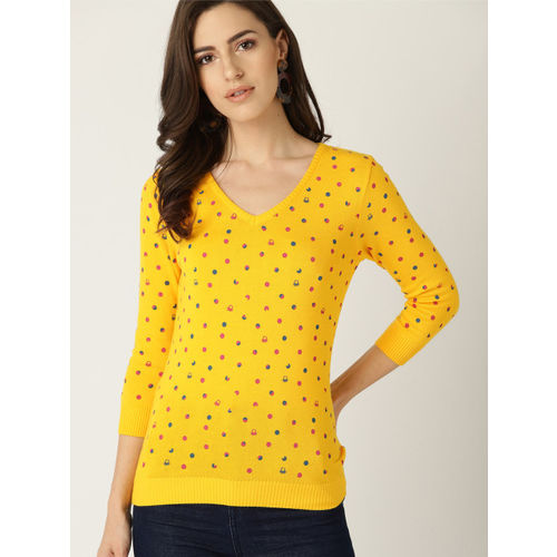 United Colors of Benetton Women Yellow & Red Printed Sweater