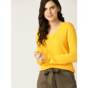 United Colors of Benetton Women Yellow Solid Sweater