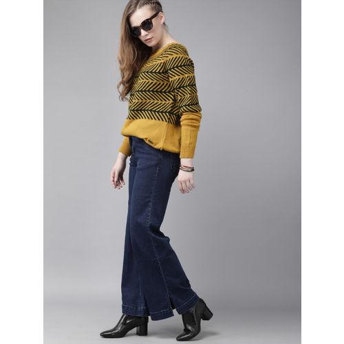 Roadster Women Mustard Yellow & Teal Green Self Design Pullover Sweater