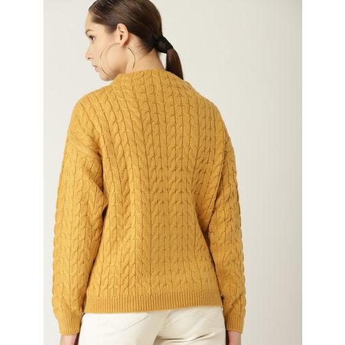 MANGO Women MUstard Yellow Cable-Knit Sweater