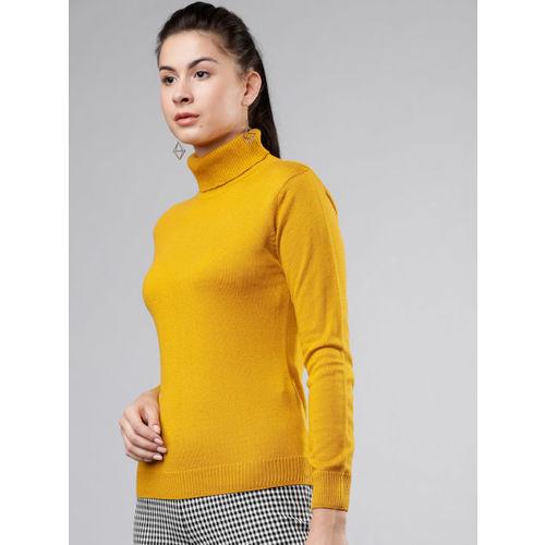 Tokyo Talkies Women Mustard Solid Sweater
