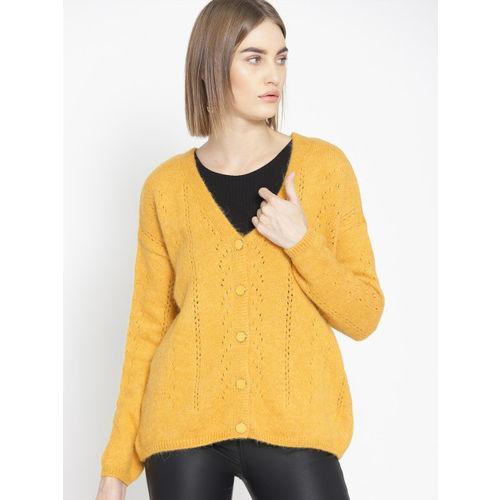 promod Women Mustard Yellow Self-Striped Sweater