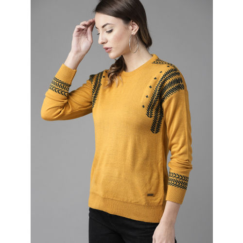 Roadster Women Mustard Yellow & Teal Blue Solid Sweater