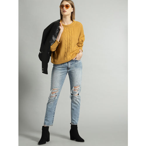 Roadster Women Mustard Yellow Self Design Sweater