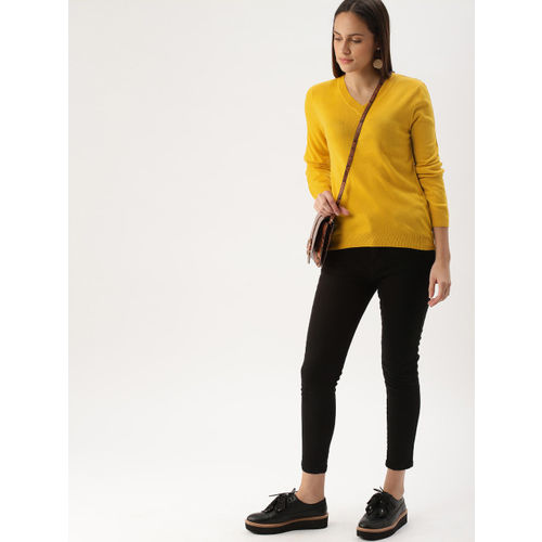 DressBerry Women Mustard Yellow Solid Pullover Sweater