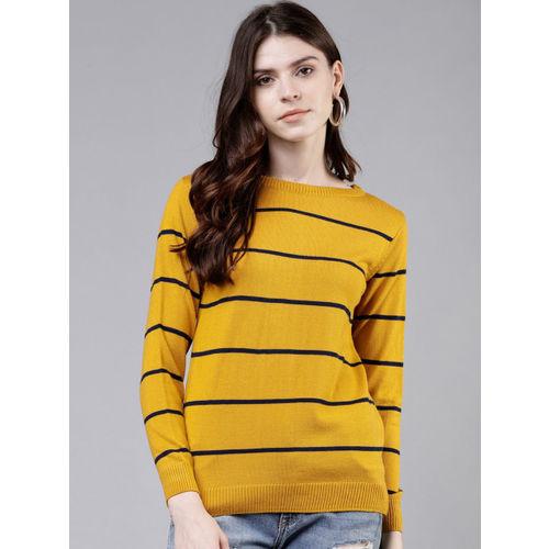 Tokyo Talkies Women Mustard & Navy Blue Striped Sweater