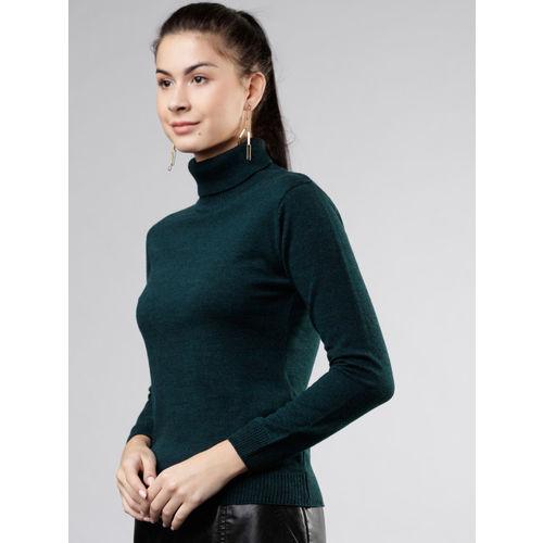 Tokyo Talkies Women Green Solid Sweater
