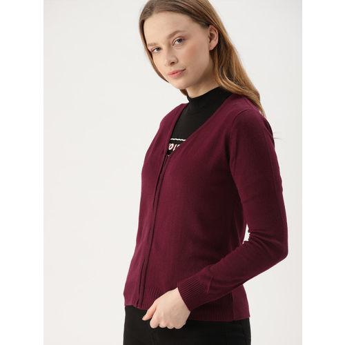 DressBerry Women Maroon Solid Sweater