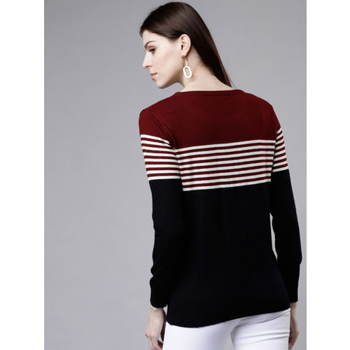 Tokyo Talkies Women Maroon & Navy Blue Colourblocked Sweater