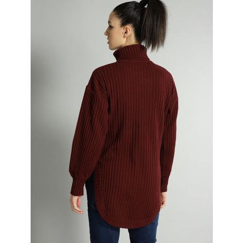 Roadster Women Maroon Ribbed Sweater