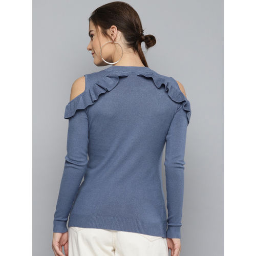 Marie Claire Women Blue Solid Cold-Shoulder Sweater