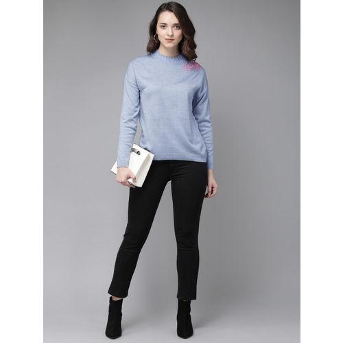 Anouk Women Blue Solid Sweater