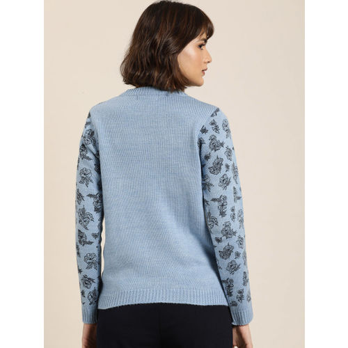 all about you from Deepika Padukone Women Blue & Black Printed Sweater