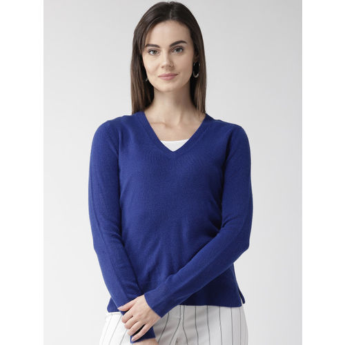 Marks & Spencer Women Blue Solid Sweater