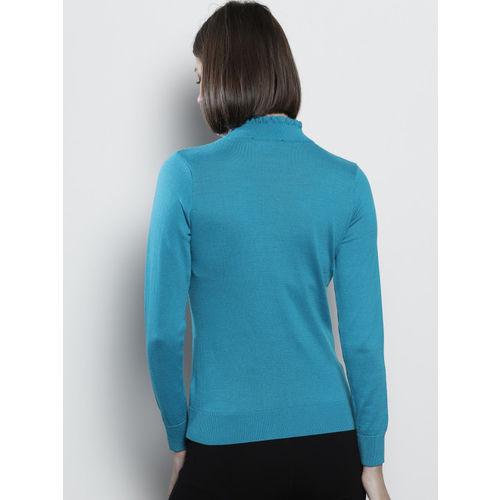 DOROTHY PERKINS Women Blue Self Design Sweater
