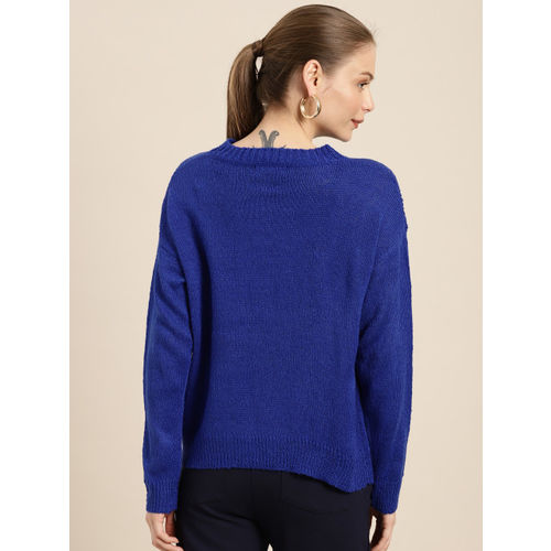 her by invictus Women Blue Self Design Sweater