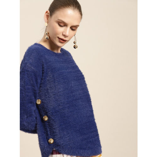 her by invictus Women Blue Solid Sweater