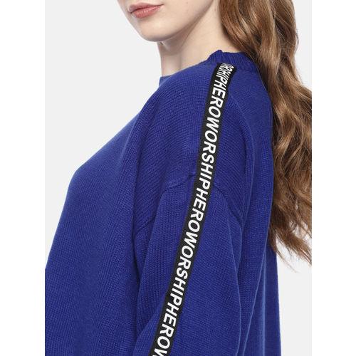 Harvard Women Blue Solid Pullover Sweater