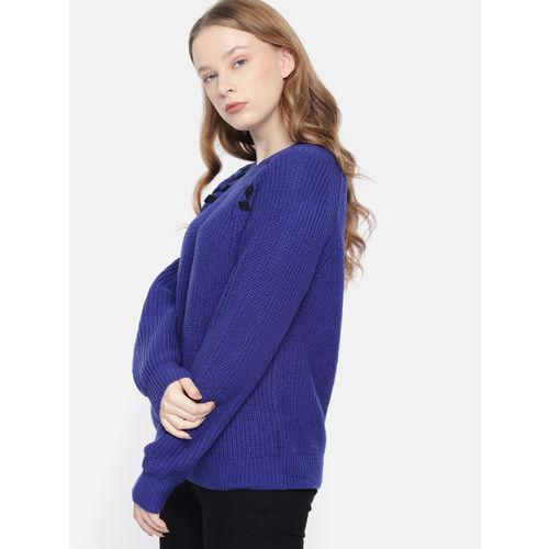 Harvard Women Blue Self-Design Sweater