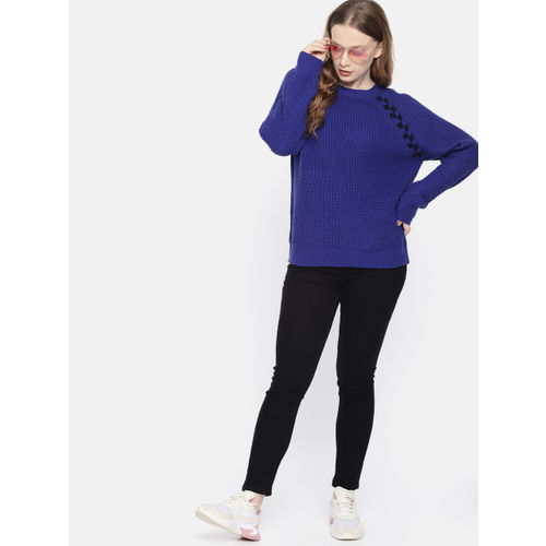 Harvard Women Blue Self-Design Sweater