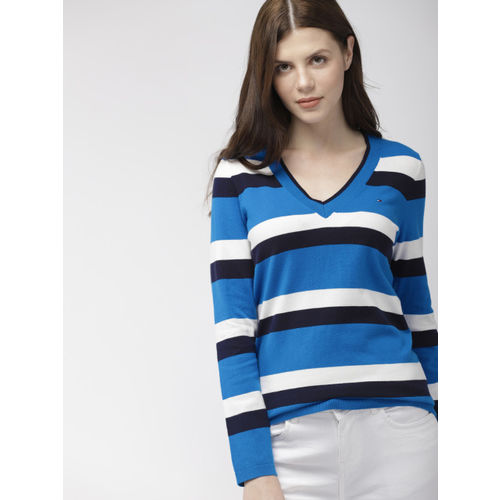 Tommy Hilfiger Women Blue & White Striped Sweater