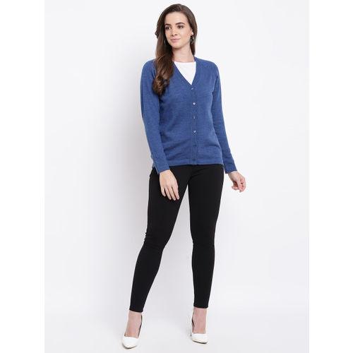 Monte Carlo Women Blue Woollen Solid Cardigan