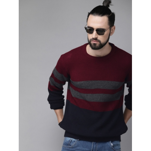 Roadster Men Maroon & Black Colourblocked Sweater
