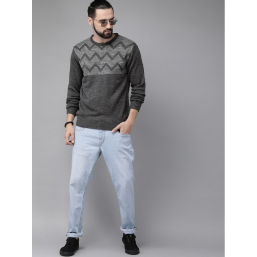 Roadster Men Charcoal Grey Self Design Sweater
