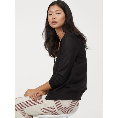 H&M Women Black Solid Fine-Knit Cardigan