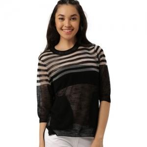 Dressberry Striped Round Neck Casual Women Black Sweater