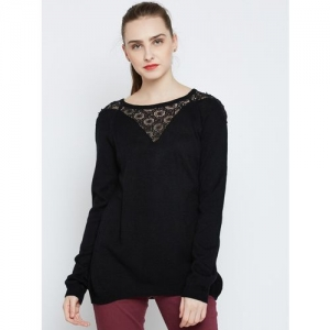 Marie Claire Solid Round Neck Casual Women Black Sweater