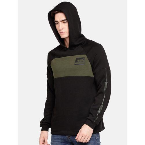 Puma Men Black & Olive Green Colourblocked Rebel Stripe Hooded Sweatshirt