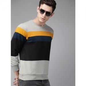 Roadster Men Black & Grey Melange Colourblocked Sweatshirt