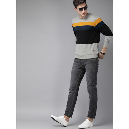 Roadster Men Black & Grey Melange Colourblocked Sweatshirt