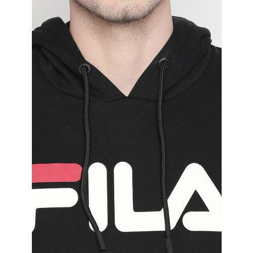 FILA Men Black & Off-White AXEL Printed Hooded Sweatshirt