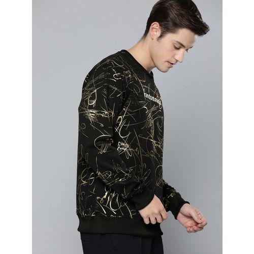 Kook N Keech Men Black & Gold Printed Sweatshirt