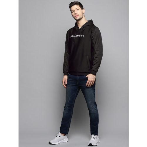 Louis Philippe Ath.Work Men Black Solid Hooded Sweatshirt