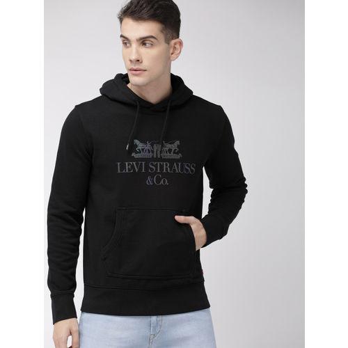 Levis Men Black Printed Hooded Sweatshirt