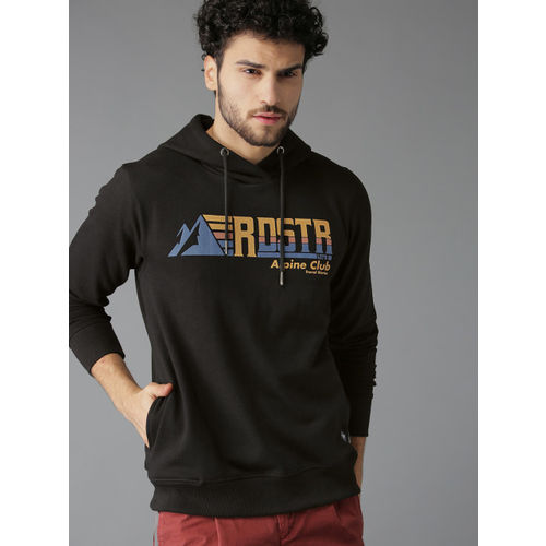 Roadster Men Black & Brown Embossed Printed Hooded Sweatshirt