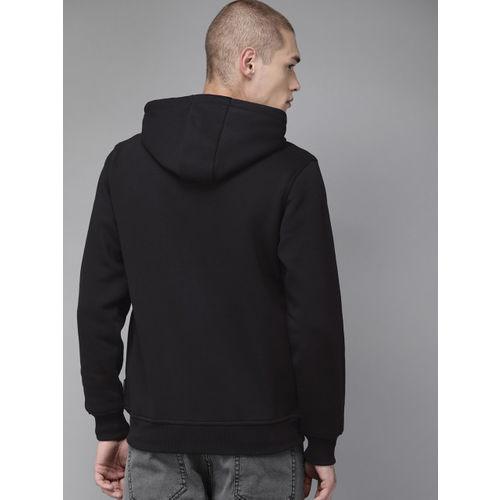 Roadster Men Black Solid Hooded Sweatshirt
