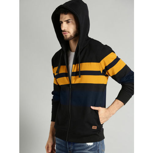 Roadster Men Black & Mustard Yellow Striped Hooded Sweatshirt
