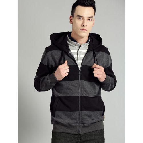 Roadster Men Black & Charcoal Grey Striped Hooded Sweatshirt