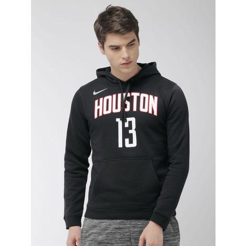 Nike Men Black Printed Hooded Standard Fit Sweatshirt AV0395-010