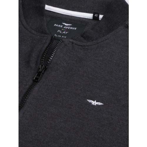 Park Avenue Men Black Solid Slim Fit Sweatshirt