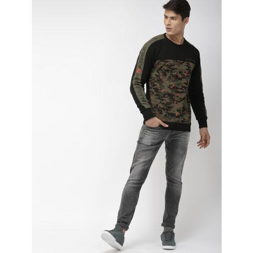 Superdry Men Black & Olive Green Camouflage Printed Sweatshirt