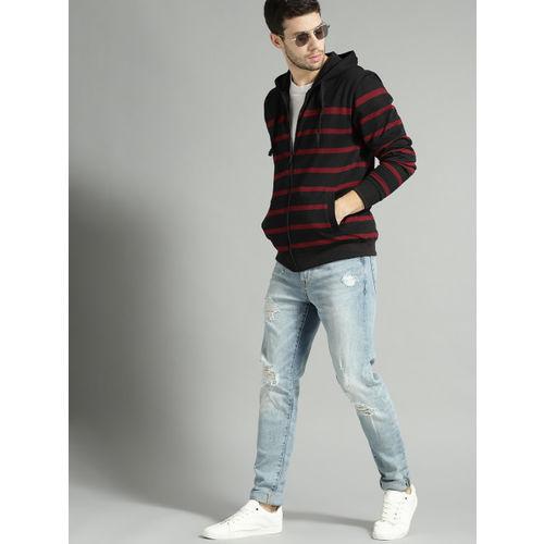 Roadster Men Black & Maroon Striped Hooded Sweatshirt