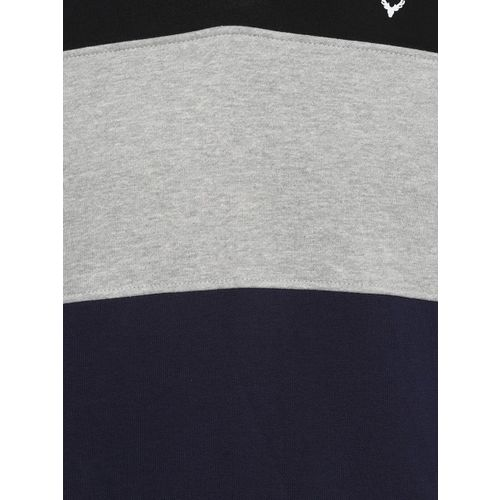 Allen Solly Men Black & Grey Colourblocked Hooded Sweatshirt