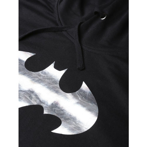 Kook N Keech Batman Men Black Printed Hooded Sweatshirt